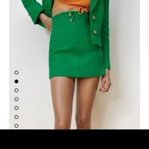 Zara M Green tweed textured short skirt